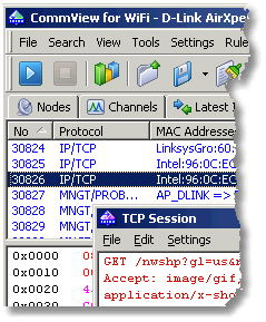 Screenshot van CommView for Wi-Fi van Tamosoft